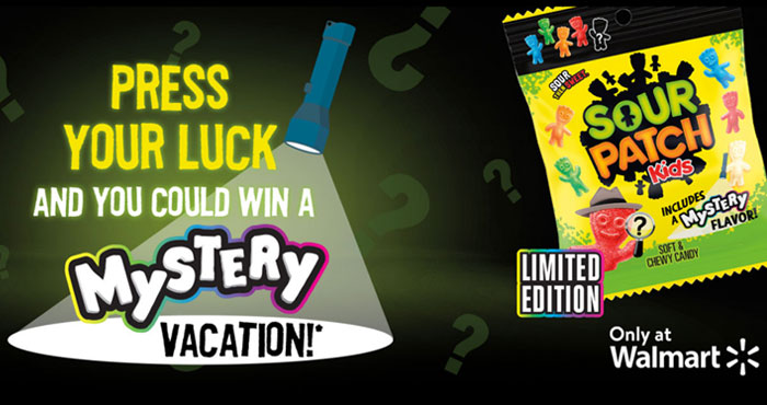 Guess the Mystery Sour Patch Kids flavor and play for your chance to win great prizes and be entered to win a mystery trip valued at $15,000! Press Your Luck and you could win Walmart Gift Cards, SOUR PATCH KIDS branded SWAG or a MYSTERY VACATION!