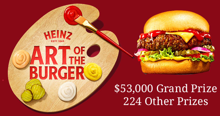 Share your best burger! Enter the Kraft Heinz Art of the Burger Contest and you could win $25,000; four separate trips for two to four separate cities in the United States and a lifetime supply of Ketchup, Mustard and Relish