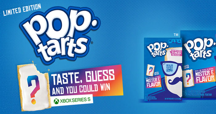 Kellogg's Pop-tarts is hooking you up with sweet prizes just for guessing their mystery flavor. You could win an Xbox Series S, Kellogg's Pop-Tarts Hoodie and hats. Pick up a box of Mister E Pop-Tarts and giving it a taste test.