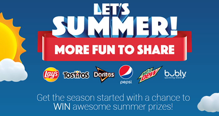 Get the summer season a head start with a chance to WIN awesome summer prizes from Pepsi! Play the Let's Summer! More Fun To Share Instant Win Game daily to win!