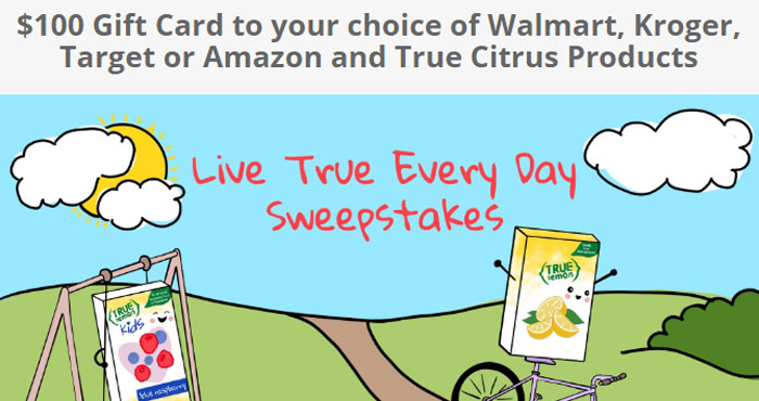 Enter the Live True Everyday Sweepstakes today! 50 Winners will receive their choice of a $100 Walmart, Kroger, Target or Amazon gift card and (10) True Citrus Products of their choice.