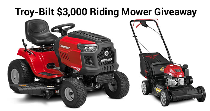 Enter daily for your chance to win a riding Lawnmower and lawn care power tools from Troy-Bilt and Bob Vila. By entering the giveaway daily, you will increase your chances to win a Troy-Bilt Super Bronco 46 XP Riding Mower plus one runner-up will also receive a complete yard care package, including a walk behind mower, string trimmer, chainsaw, and backpack blower, all from Troy-Bilt.