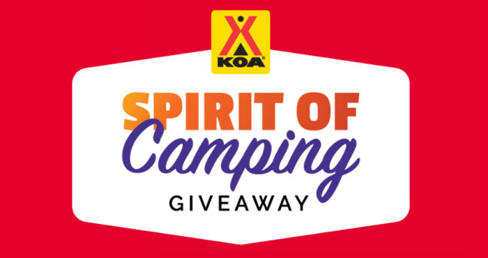You could win a grand prize package featuring everything you need to get into the camping spirit, including a tent, sleeping bags, grill, cooler and more. Or you might win one of five smaller prize packages featuring a gourmet s'mores kit, limited edition KOA andSpirit Untamedsweatshirts, instant camera for kids and more.