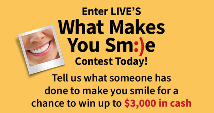 Enter for your chance to win $3,000 in cash and a year's supply of Burt's Bees toothpaste. Share what someone has done to make you smile for your chance to win.