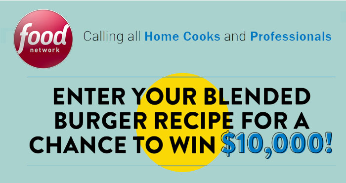 Enter for your chance to win $10,00 from the Food Network!Create your original spin on a blended burger using at least 25% chopped cultivated mushrooms in the patty for a chance to win $10,000!