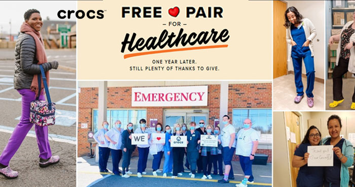 From now through May 14th, the Croc company is GIVING AWAY 10,000 PAIRS OF CROCS AT WORK™ shoes a day to healthcare heroes who continue to provide comfort in our communities. In 2020, Crocs donated over 860,000 free pairs of shoes to healthcare workers on the frontlines of COVID-19. Now, just one year later, there's no better way to say thank you than by doing it all over again.