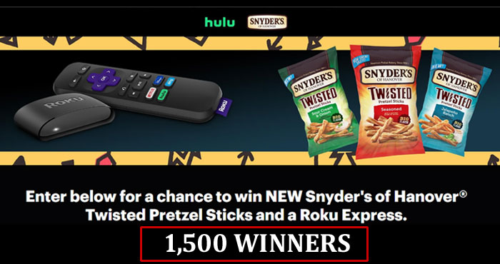 1,500 WINNERS! Enter for a chance to win NEW Snyder's of Hanover Twisted Pretzel Sticks and a Roku Express. So put down your snacks, pause your show, and complete the entry to win!