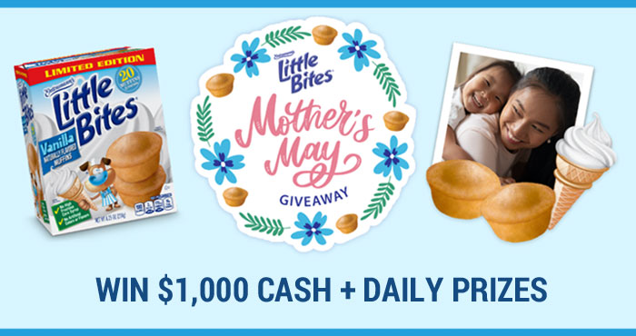 Let's face it. Moms do so much for us and deserve to be recognized. That's why throughout the month of May, Entenmann's Little Bites Snacks is giving moms across the country a chance to win exciting prizes daily and a Grand Prize of $1,000!