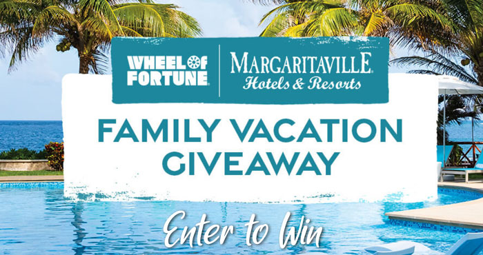 Wheel of Fortune is giving you the chance to win a trip for you and up to 9 guests at the Margaritaville Island Reserve Riviera Cancun in Cancun, Mexico PLUS 4 daily winners will each win a Margaritaville Frozen Concoction Maker