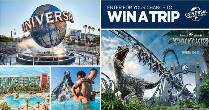 Enter for your chance to win a trip for you and three guests to Universal Orlando Resort from USA Network. With three epic theme parks, you will feel the rush of the hunt as you race through the jungle alongside Velociraptors on Jurassic World VelociCoaster! Plus, you'll stay at one of Universal's spectacular resort hotels.