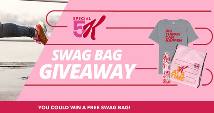 50 WINNERS! Enter for your chance to win a Free Swag bag from Kellogg's Special K. Log into your #KFR account or join for Free to enter for a chance to win a FREE Special 5K Swag Bag