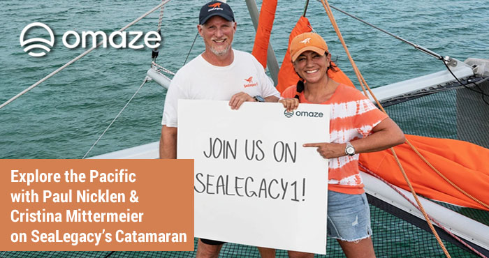 OMAZE is giving you the chance to join Paul Nicklen and Cristina Mittermeier on a portion of the Pacific leg of SeaLegacy 1's maiden voyage around the world