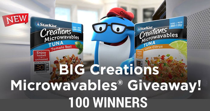 100 WINNERS! Enter for your chance to win a variety pack of StarKist Creations Microwavable products. If you love StarKist Creations, you'll love their NEW StarKist Creations Microwavables pouches filled with hearty grains, vegetables and delicious flavor varieties!