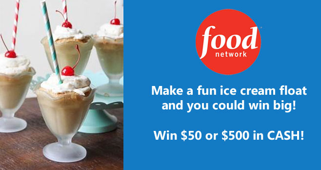 Want to win some cash? Food Network Magazine is giving away $50 to $500 in cash. Post a photo of an amazing homemade ice cream float with #icecreamfloatcontest and you could win big! The grand prize winner will receive $500 and three runners-up will each receive $50.