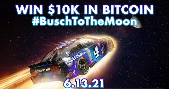 Do you love #Bitcoin? Follow the @NASCAR race on June 13th and you could win $10K in Bitcoin (or $10,000 cash, winners choice)! Tweet #BuschToTheMoon #Sweepstakes at the launch of each stage of the race to enter. #AllStarRace