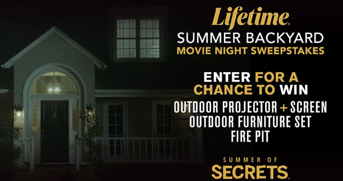 Enter Lifetime's Summer Backyard Movie Night Sweepstakes for your chance to win an outdoor project with screen + a a set of outdoor furniture set with fire pit.