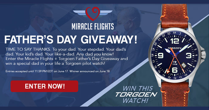 It's time to say thanks. To your dad. Your stepdad. Your dad's dad. Your kid's dad. Miracle Flights (@miracleflights) is giving away a Torgoen T9 Bluebird GMT Watch valued at $198 in time foe Father's Day. #