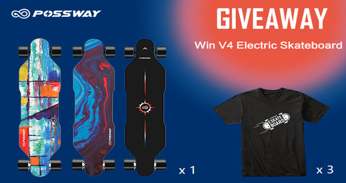 Possway is giving away a V4 electric skateboard and three Electric Skateboard T-shirts. Vote for the prize you want to win! Entry is simple. More entries, more chance to win!