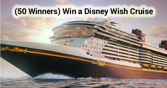 Disney is giving away 50 cruises! Enter for your chance to be among the first to set sail on the enchanting new ship, the Disney Wish in Summer 2022!