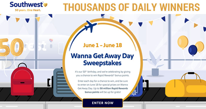 Southwest Airlines (@Southwestair) wants you to get out and travel again so they are giving away FREE Southwest Rapid Rewards bonus points. There will be THOUSANDS of daily winners! Enter each day for your chance to win and be sure to enter on June 18th for special prizes on Wanna GetAway Day. Up to 50 million Rapid Rewards onus points will be up for grabs!