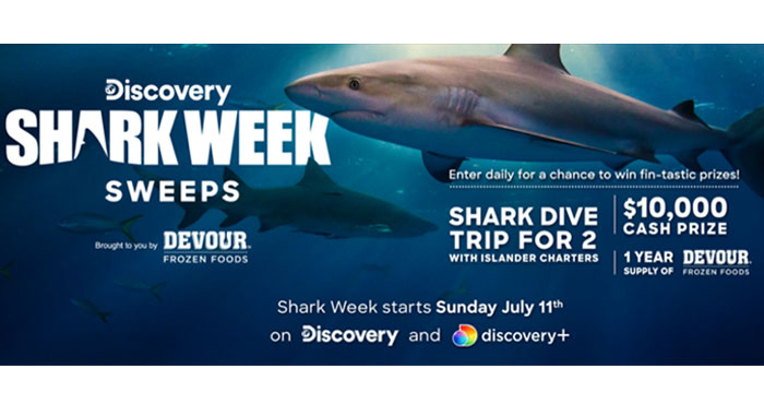Enter for your chance to win a Shark dive trip for 2 with Islander Charters in San Diego, California. Plus the grand prize winner will also receive $10,000 in cash from Discovery and a year's supply of Devour frozen foods.