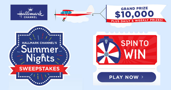 Enter the Hallmark Summer Nights Sweepstakes for your chance to win for your chance to win $10,000! Play game daily to win daily and weekly prizes. Pick a game to earn bonus entries and a chance to win prizes