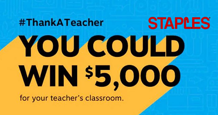 Thank a Teacher today! Win them $5k for their school and $2k to recharge from Staples #ThankATeacher Contest. Staples is calling for nominations for America's favorite teachers. To enter, share how your teacher pulled out all the stops to motivate their students in such a challenging year.