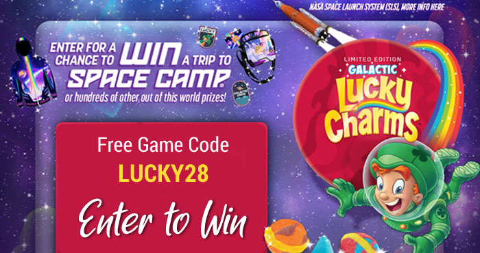 Lucky Charms invites you to play the Galactic instant win game for a chance to win a trip for 4 to Space Camp! You could also win Lucky Charms Galactic Space sweatshirts, water bottles, keychains and more instantly!