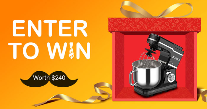 Enter for your chance to win an Acekool MC1 Tilt-Head Stand Mixer. #giveaway With a big mixing 7.5 Qt bowl you have enough capacity to bake for your family. Comes with a dough hook, flat beater, whisk and splash-proof cover. All of the accessories are dishwashers available, you can just throw them in the dishwasher, feel free to clean quickly.