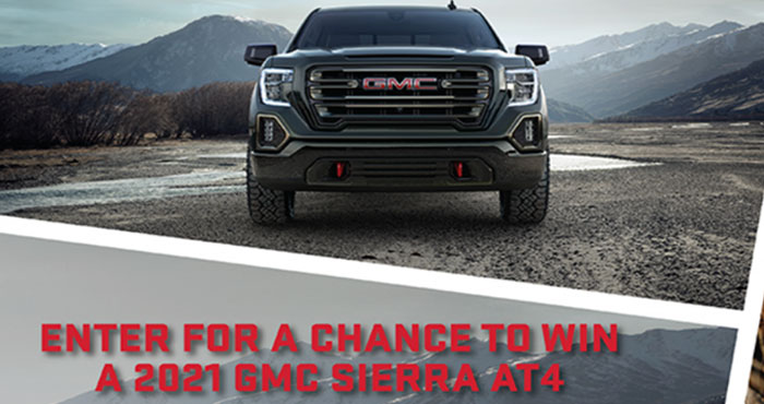 Enter for your chance to win a 2021 GMC Sierra AT4 heavy duty off-road pickup truck with enhanced features built to power you and your trailer off the road valued at over $66,000