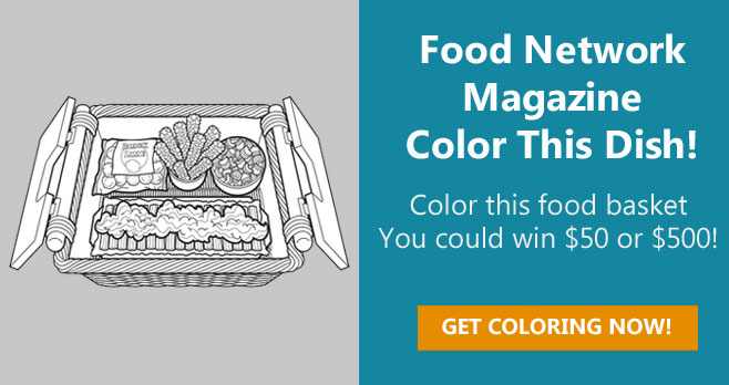 Color the Food Network Food Basket coloring page for your chance to win $500!The grand prize winner will receive $500 and three runners-up will each receive a $50.