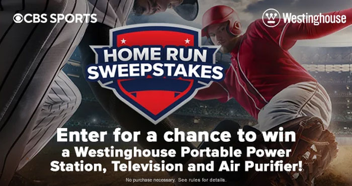 """Enter the CBSSports Home Run Sweepstakes for your chance to win a 55"""" Westinghouse 4K Ultra HD Roku Smart TV; Westinghouse Outdoor Power Equipment iGen300s Portable Power Station and a Westinghouse 1804 Portable Air Purifier."""