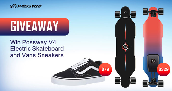 Enter for your chance to win a Possway V4 Electric Skateboard and a pair of Vans Sneakers. Lightweight & Multi-Speed Boards With Dual Motors, Powerful Battery. High-performance boards with power up. Best Electric Skateboard Under $350