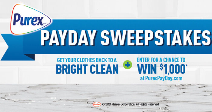 Enter for a chance to win a $1,000 gift card or one of 1,500 other prizes in the Purex PayDay Sweepstakes! All cash prizes are awarded in the form of a gift card.