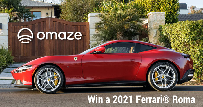 OMAZE is giving you the chance to win a brand new 2021 Ferrari Roma valued at over $292,000! OR you can take a cash prize of $219,270.75 instead.
