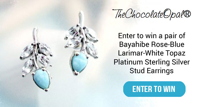 Win Bayahibe Rose-Blue Larimar-White Topaz Earrings from TheChocolateOpal.com