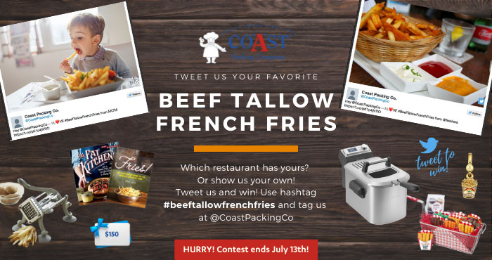 You may be a winner of a Breville Deep Fryer to make your own delicious beef tallow French fries at home, a $150 gift certificate to your favorite restaurant that features beef fat French fries, and other awesome prizes! #BeefTallowFrenchFries
