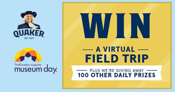 Enter the Quaker Back to School Sweepstakes and you could win a virtual field trip plus they are giving away 100 other daily prizes. Enter daily through September 15th to win Smithsonian dig, lab, volcano and spider kits