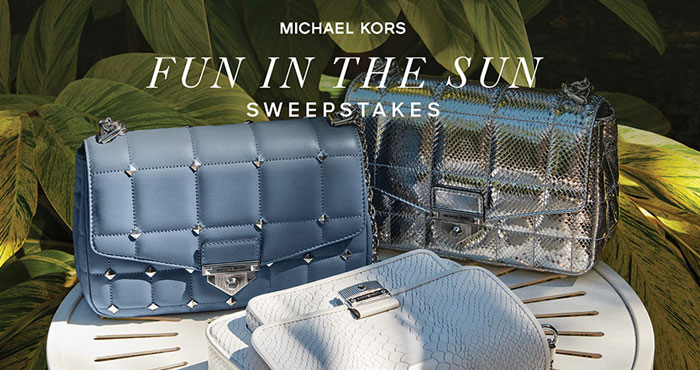 In celebration of summer, Michael Kors is giving away a Michael Kors SoHo bag and a $200 Michael Kors gift card to 5 lucky individuals. Plus, 10 runners-up will each receive a $100 Michael Kors gift card and thousands will win bonus Michael Kors Loyalty Points and extra entries.