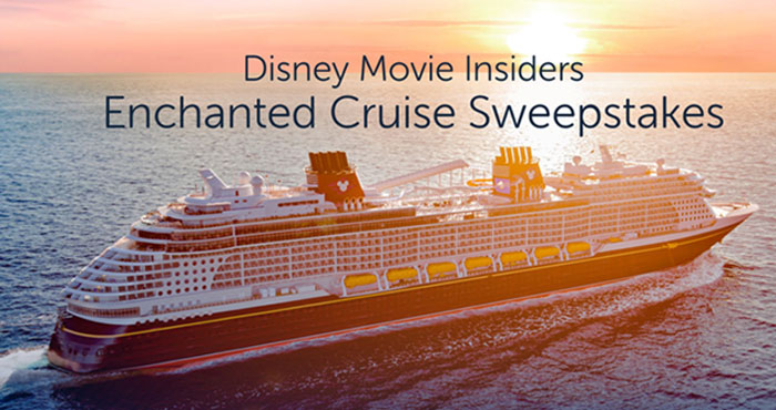 Enter for your chance to win a 3-night Bahamian Disney Cruise Line vacation for 4 persons to be taken aboard the Disney Wish cruise ship when you enter the Disney Movie Insiders Enchanted Cruise Sweepstakes