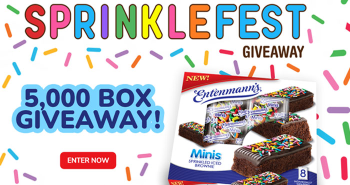 5,000 WINNERS! Sprinkles make everything more fun. That's why Entenmann's is excited to announce the Entenmann's Minis Sprinklefest #Giveaway! That's right, Entenmann's is giving away a box of NEW Entenmann's Minis Sprinkled Iced Brownies to 5,000 lucky winners.