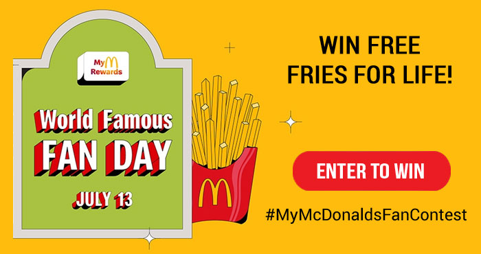 How would you like to win @McDonalds fries for life or One million MyMcDonald's Rewards points! Share why you are the biggest fan of McDonald's using #MyMcDonaldsFanContest for your chance to win