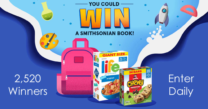 2,520 WINNERS! Pick the prize you want a chance to instantly win. Play the Explore With Quaker Instant Win Game to find out if you've scored a book inspired by STEAM (Science, Technology, Engineering, Arts & Math).