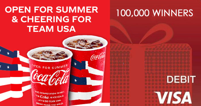 100,000 WINNERS! Play the Coca-Cola Olympic Games Instant Win Game daily to win a Free Coke! (Paid in the form of a $2.50 Visa gift card). Summer is here and what better way to celebrate than with an ice-cold Coke at your favorite restaurant.