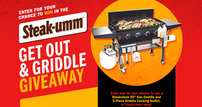 """Enter now for your chance to win a Blackstone 36"""" Gas Griddle and 5-Piece Griddle Cooking Toolkit, or Steak-umm swag!"""