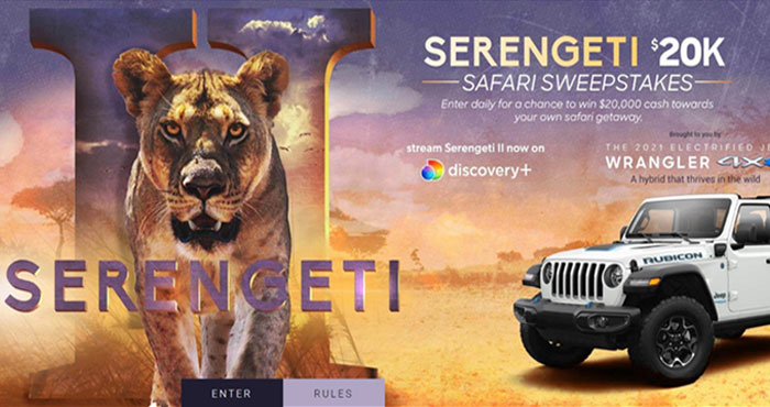 Enter the Discovery Channel Serengeti Safari Sweepstakes daily for your chance to win $20,000 cash towards your own safari getaway.