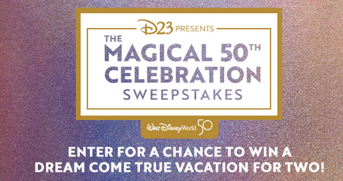 Enter for a chance to attend the 50th Anniversary Celebration at Walt Disney World Resort. One lucky #D23 Member and a guest will attend the opening celebration of the 50th Anniversary at Walt Disney World Resort. Be among the first to experience the sights and sounds of this magical celebration.