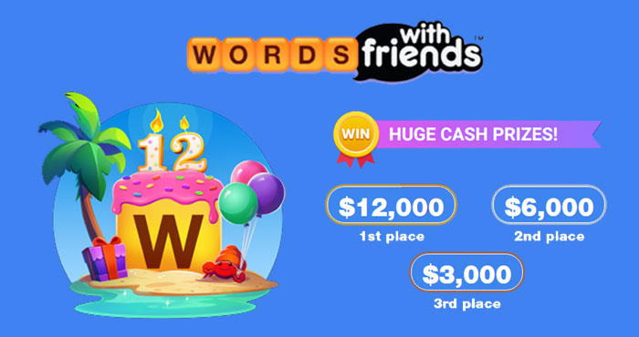 Do you love playing Words with Friends? Celebrate Words With Friends 12th Birthday with your chance to win $3,000, $6,000 or even $12,000 in cash prizes! It's never too late to join the party, you don't want to miss out on this year's celebration!