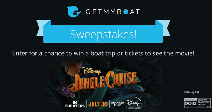 Get My Boat Disney's Jungle Cruise Sweepstakes