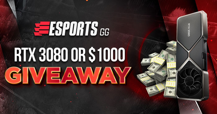 Esports GG is excited to announce this RTX 3080 or $1,000 giveaway